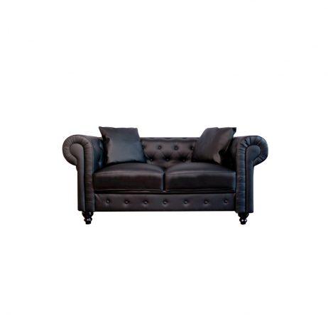 Rentals - 2 Seater Leather Capitone Sofa (Black)
